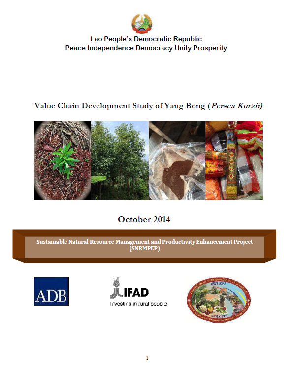 Lao PDR: Sustainable Natural Resources Management and Productivity Enhancement Project Value Chain Development Study of Yang Bong (Persea Kurzii)